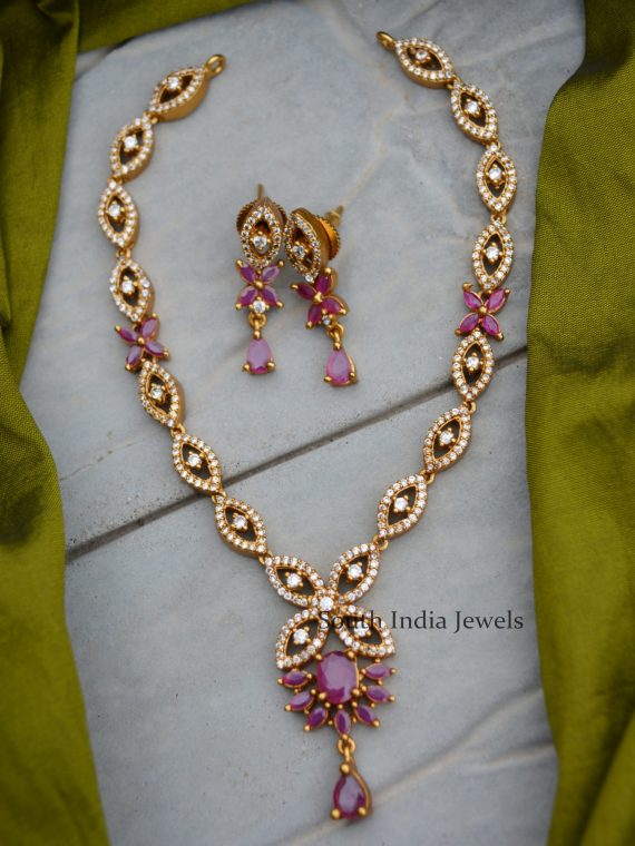 Simple Ruby & AD White Stone Necklace