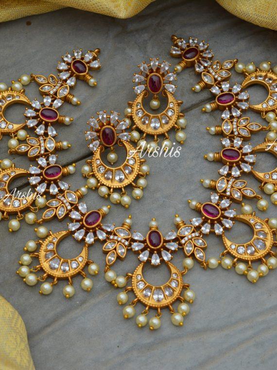 Stunning AD Stone Chandbali Necklace