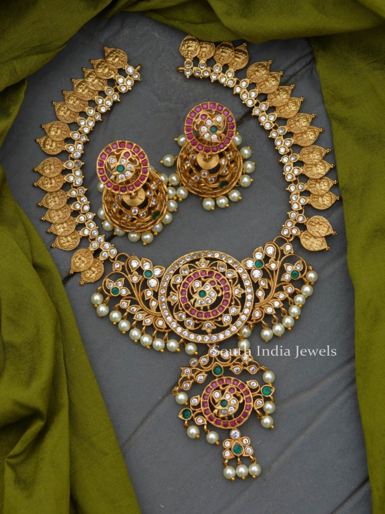 Stunning Lakshmi Coin Matte Finish Necklace