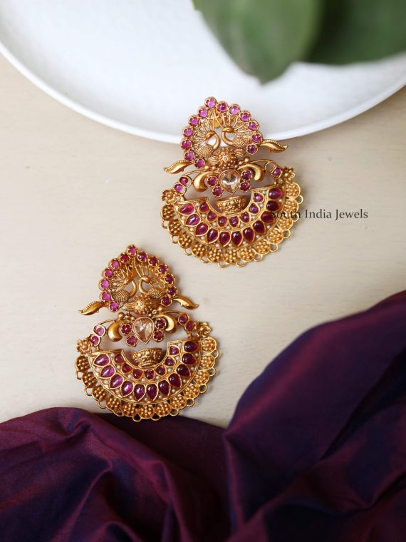 Stunning Peacock Design Kemp Stone Earrings