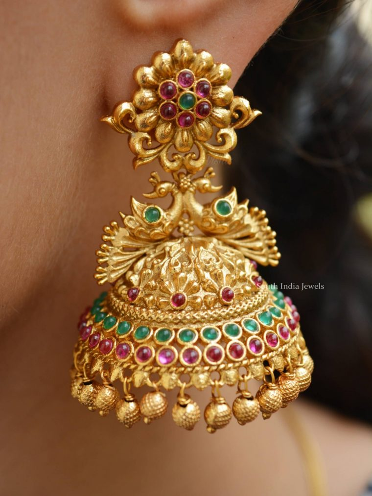 Temple Peacock Jhumka With Red & Green Stones-01