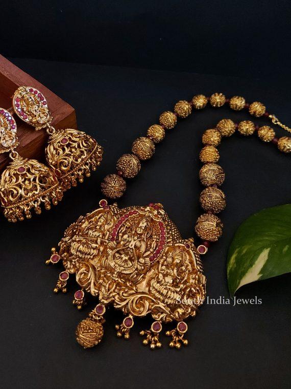 Traditional Lakshmi Saraswathi Ganapati Pendant Necklace-01