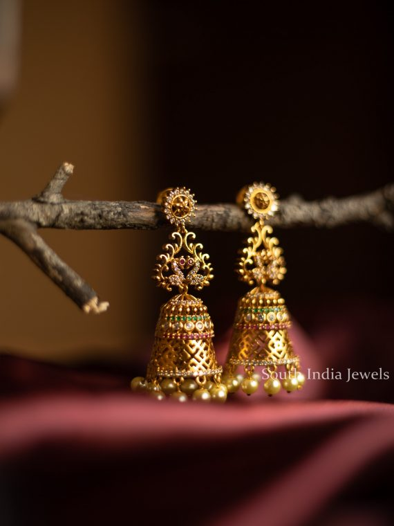 Traditional Peacock Design Multi Stone Jhumka