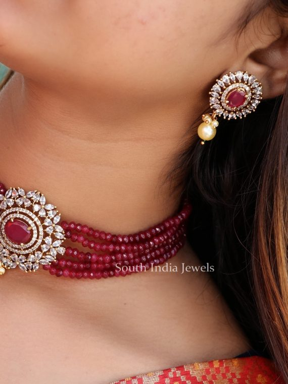 Traditional Ruby Beaded Choker-01