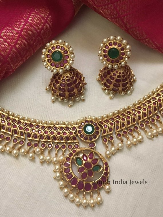 Traditional Temple Necklace With Jhumkas