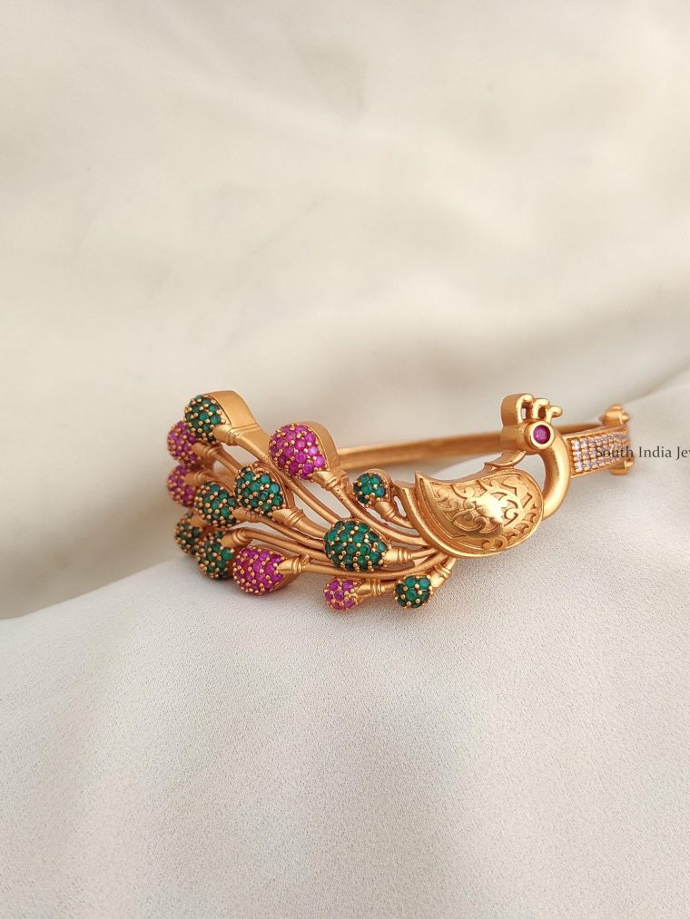 Traditional Wear CZ Stone Peacock Bracelet