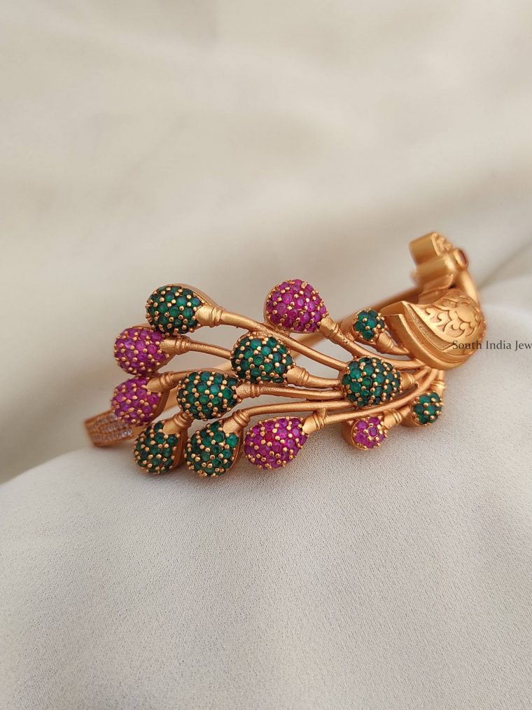 Traditional Wear CZ Stone Peacock Bracelet