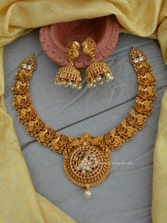 Traditional Wear Peacock Design Necklace