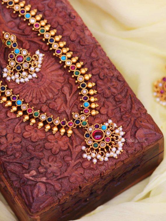Trendy Kemp Stone Navarathna Necklace