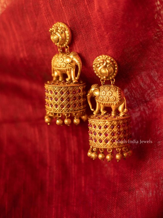 Unique Elephant Matte Finish Jhumka