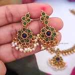 Unique Green & Blue Stone Attigai Necklace