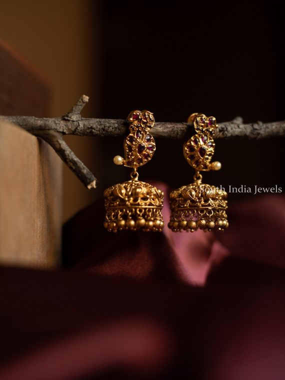 Unique Mango Design Ruby Stone Jhumka