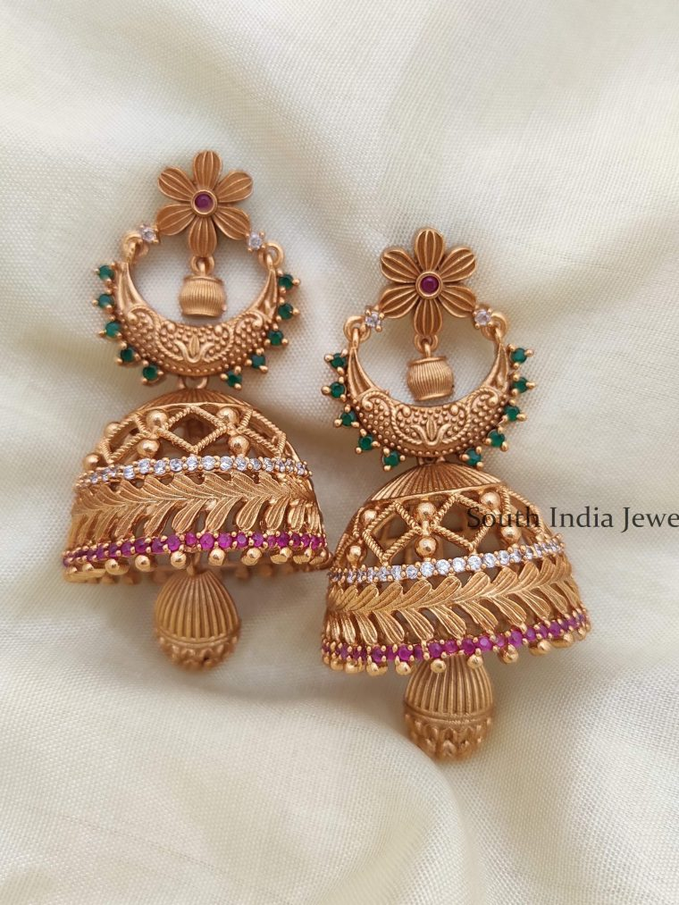 Unique Matte Finish Flower Design Jhumka