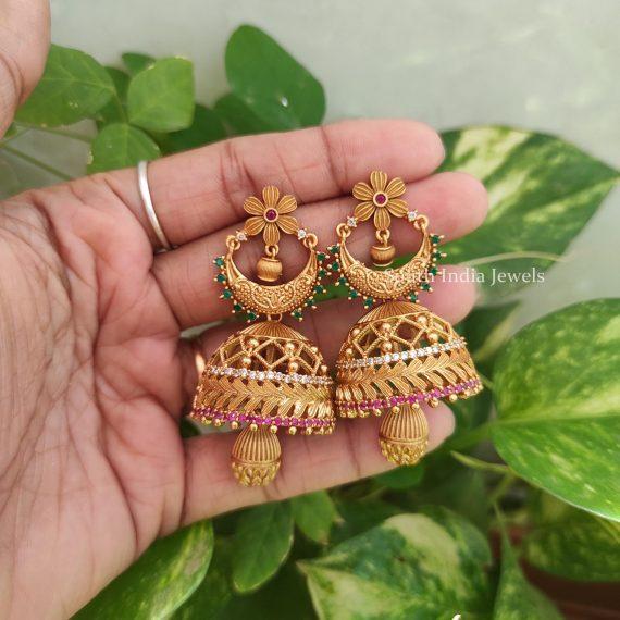 Unique Matte Finish Flower Design Jhumka