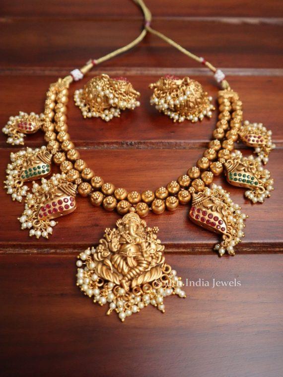 Unique Matte Finish Ganesh Design Necklace