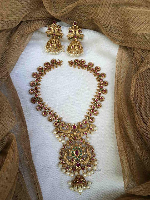 Unique Matte Finish Necklace with Jhumka