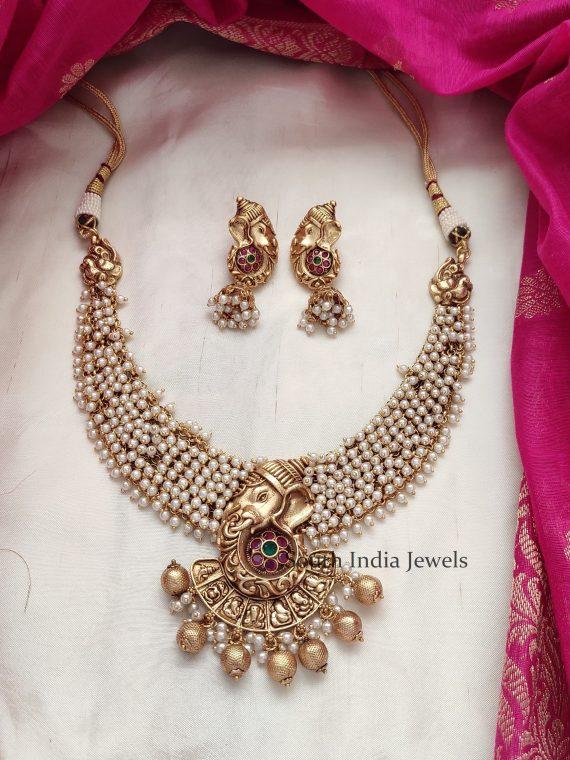 Unique Traditional Ashta Vinayaka Pearl Necklace-01