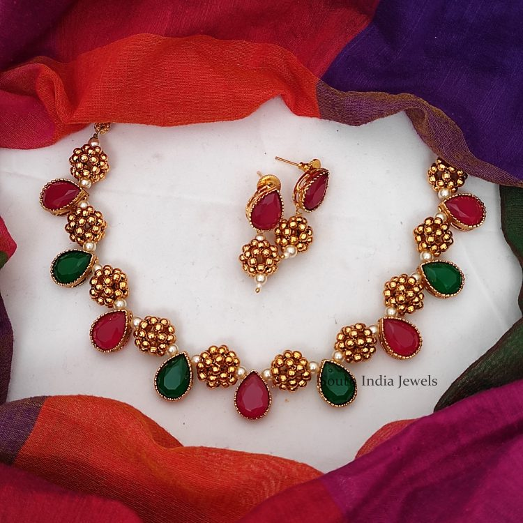 Antique Ruby Emerald Necklace
