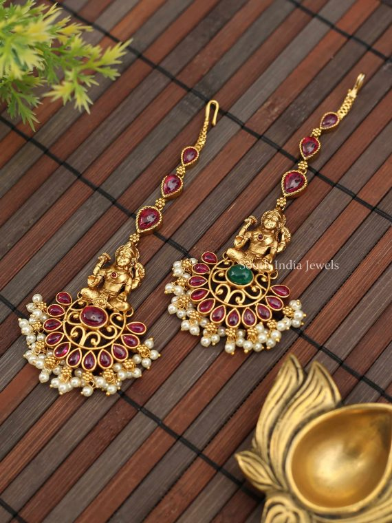 Beautiful Lakshmi Design Pearl Maang Tikka