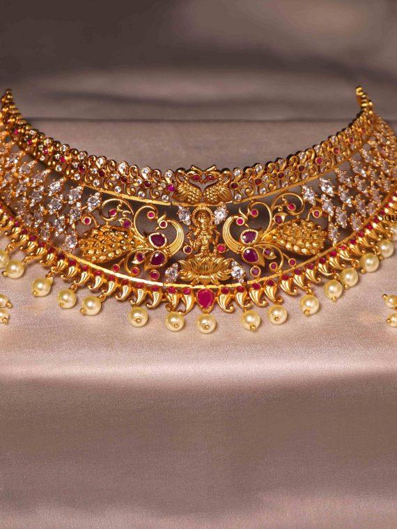 Beautiful Lakshmi Design Ruby Stone Choker