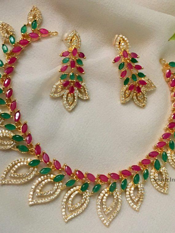 Beautiful Leaf Design Multi Stone Necklace