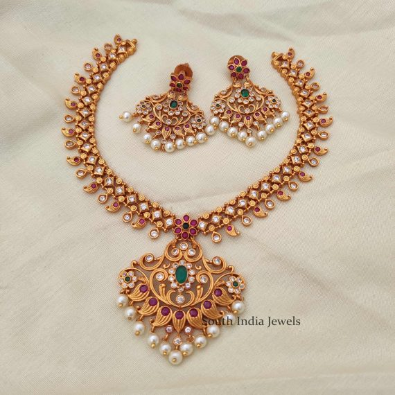 Beautiful Matte Finish Necklace with Earrings-01