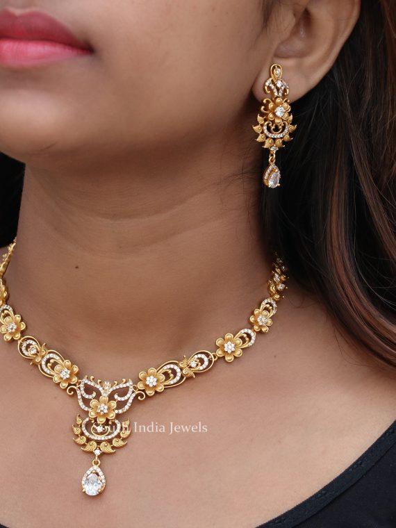 Beautiful Matte Finish White Stone Necklace