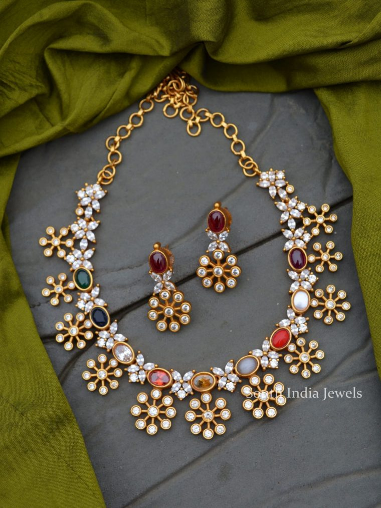 Beautiful Navarathna AD Stone Necklace