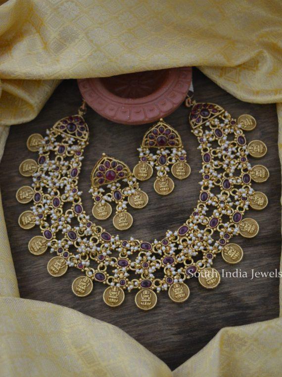 Beautiful Real Kemp Lakshmi Necklace