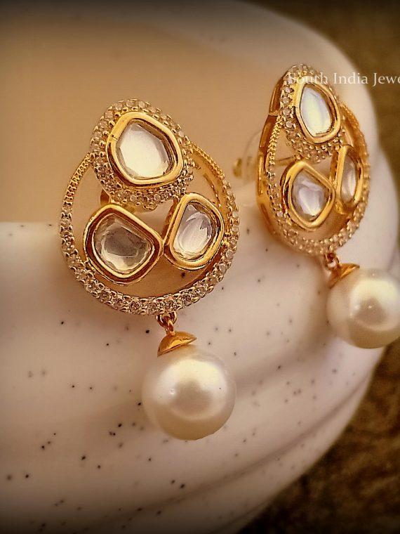 Beautiful Uncut Stone Earrings