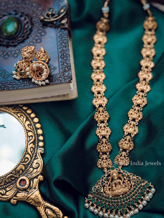 Bridal Wear Emerald Lakshmi Motif Haram