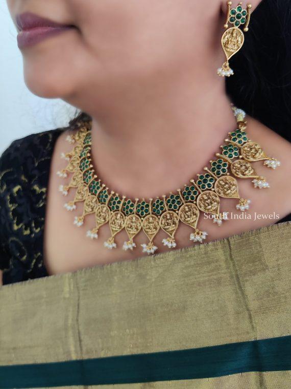 Classic Green Stone Studded Lakshmi Necklace-01