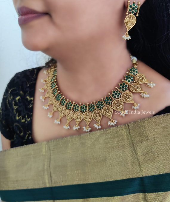 Classic Green Stone Studded Lakshmi Necklace-01