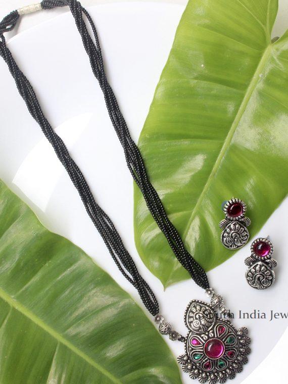 Classic Kolhapori Black Beads Necklace Set