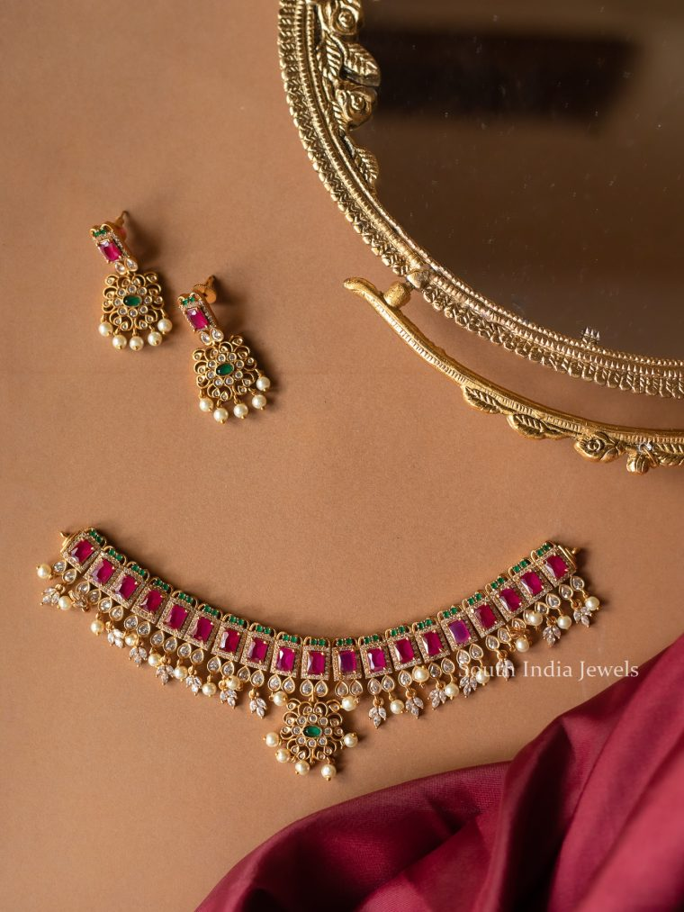 Classic Multi Stone Choker with Earrings