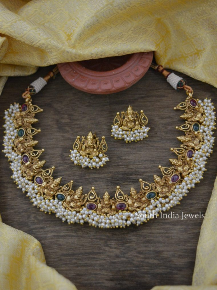 Classic Real Kemp Ganesha Pearl Necklace