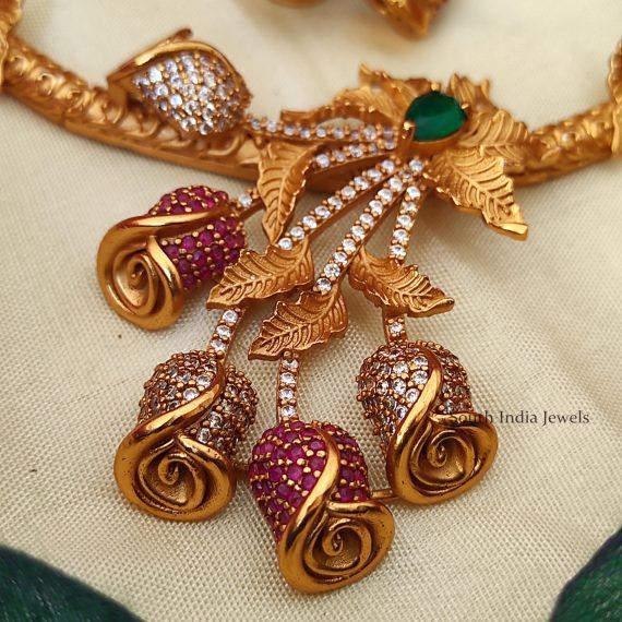 Cute Rose Bud Unique Necklace