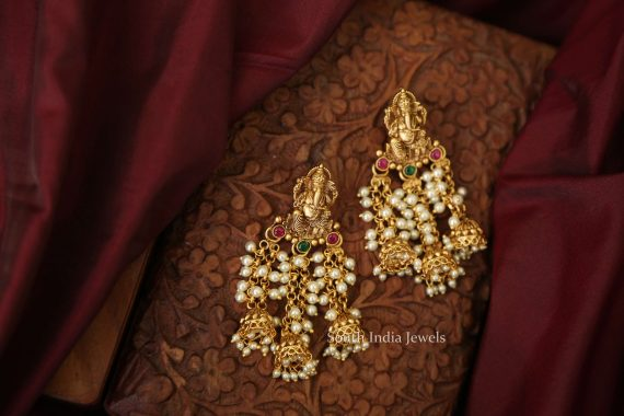 Designer Fine Quality Ganesh Pearl Earrings-01