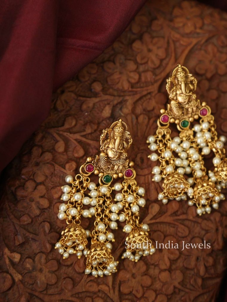 Designer Fine Quality Ganesh Pearl Earrings-01