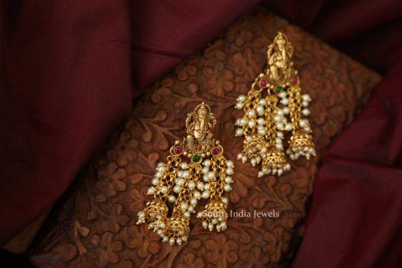 Designer Fine Quality Ganesh Pearl Earrings-02