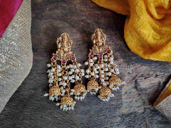 Designer Fine Quality Ganesh Pearl Earrings-03