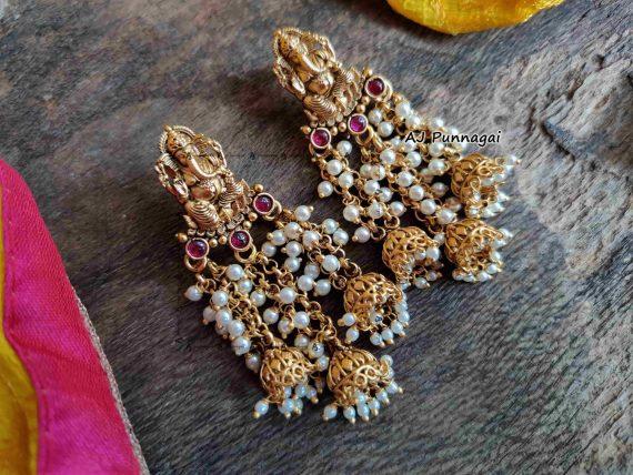 Designer Fine Quality Ganesh Pearl Earrings-04
