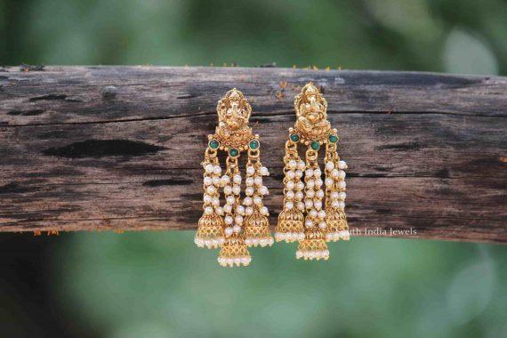 Designer Fine Quality Ganesh Pearl Earrings-06
