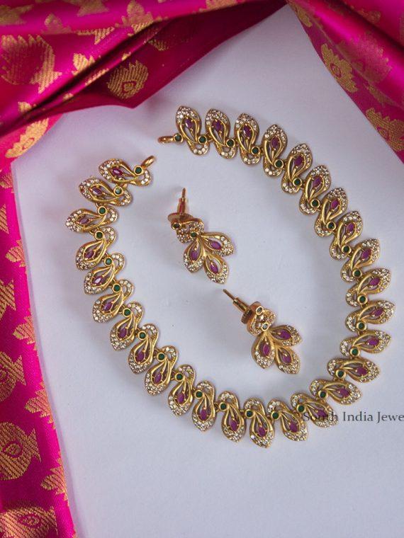 Diamond Alike Flower Design Necklace
