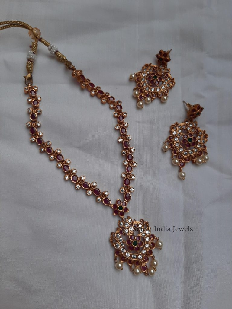 Elegant Flower Design Matte Finish Necklace