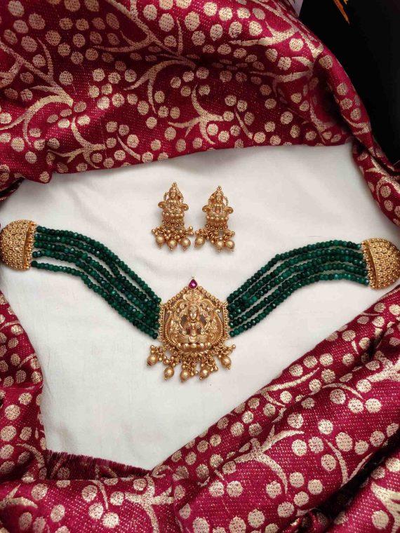 Elegant Green Beads Lakshmi Pendant Choker