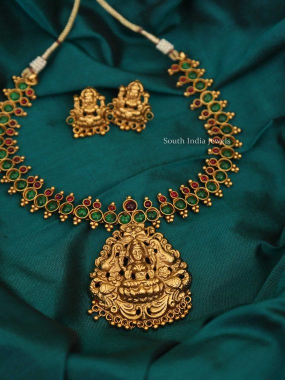 Elegant Lakshmi Pendant Short Necklace