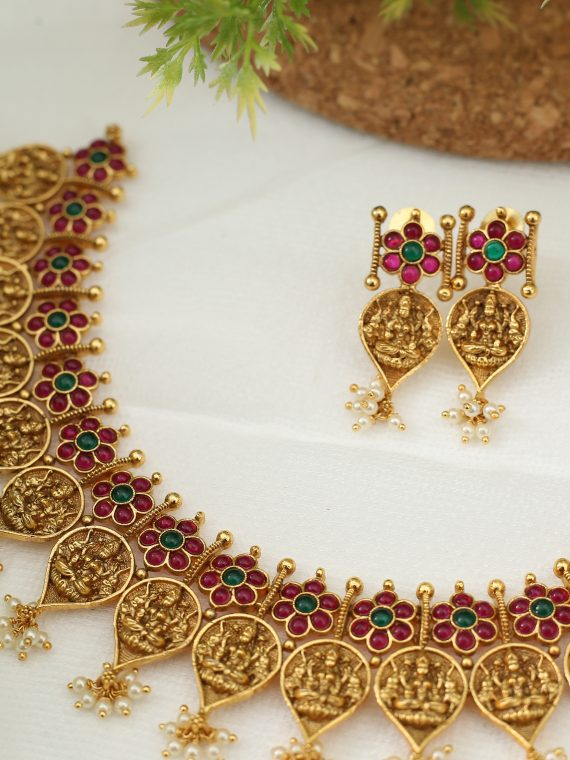 Elegant Leaf Shaped Lakshmi Coin Necklace