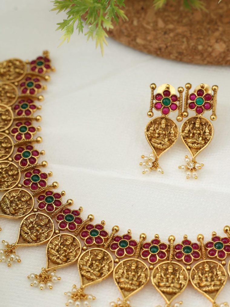 Elegant Leaf Shaped Lakshmi Coin Necklace