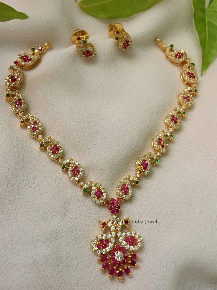 Elegant Peacock Design Ruby Necklace